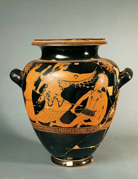 Italy Apulia Attic Vase Depicting Athena Fighting Painted By The