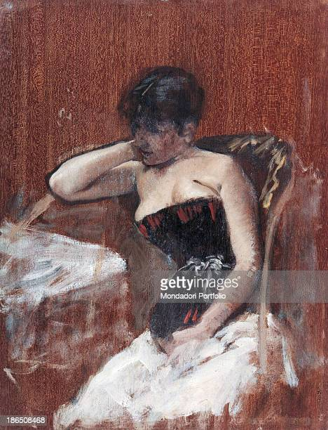 Italy Apulia Barletta Museo Pinacoteca comunale G De Nittis di Barletta Whole artwork view Portrait of a young woman accommodated in an armchair...