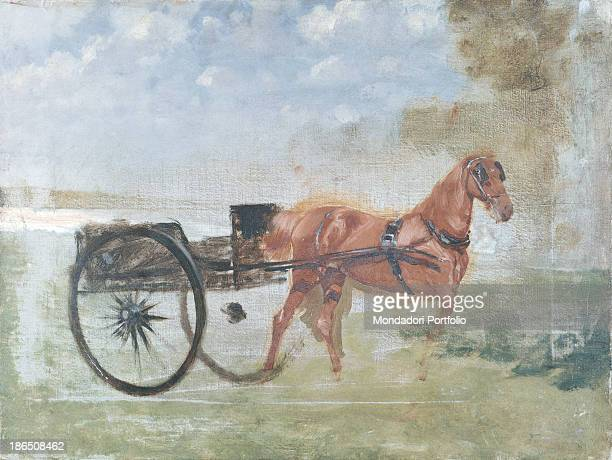 Italy Apulia Barletta Museo Pinacoteca comunale G De Nittis of Barletta Whole artwork view A horse wearing blinder and sling is portrayed at the...