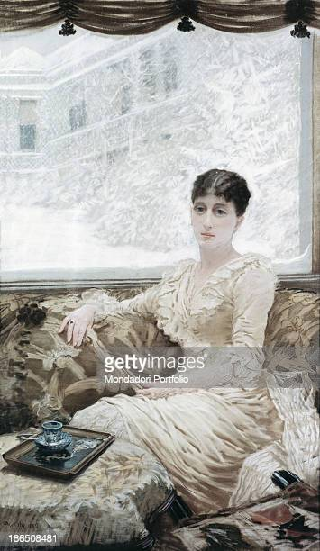 Italy Apulia Barletta Museo Pinacoteca comunale G De Nittis of Barletta Whole artwork view Leontine Gruvelle artist's wife sitting on the sofa From...