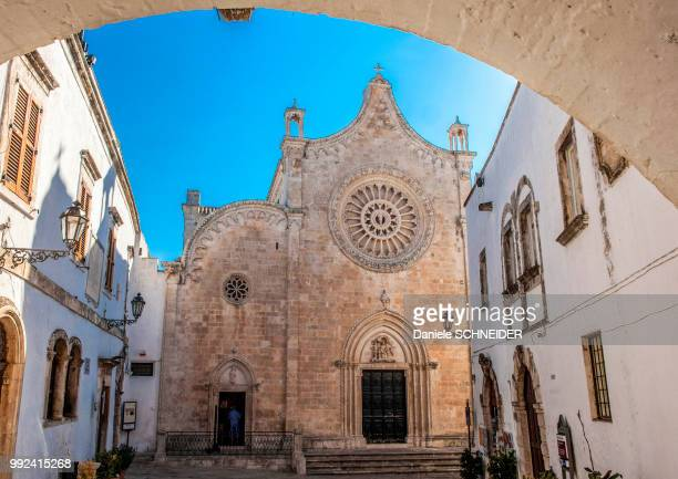italy, apulia, itria valley, ostuni, saint mary of the assumption cathedral - ostuni stock photos and pictures