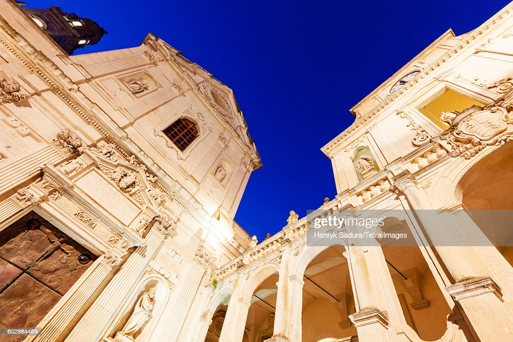 Italy, Apulia, Lecce, Low angle view of Lecce Cathedral in Duomo square : Stock Photo