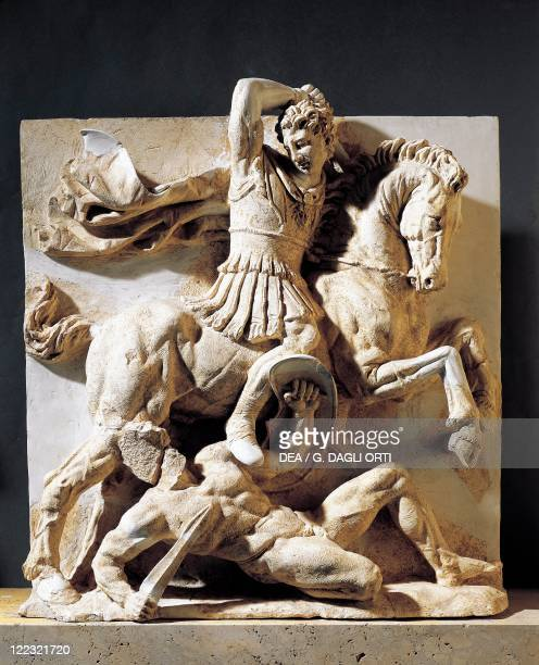 Italy Apulia Region Magna Graecia Fragment of Metope III century bC Local Soft Rock Relief Horseman Overcoming Enemy or Alexander Fighting