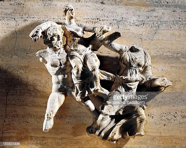 Italy Apulia Region Magna Greacia III century bC Relief of Naiskos Pediment Hades Abducts Persephone