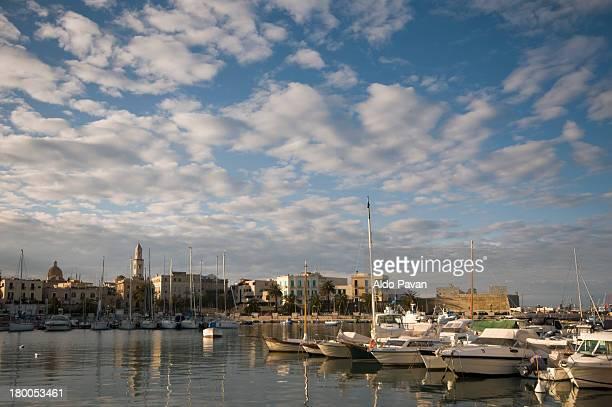 italy, bari, view of the old port - bari foto e immagini stock