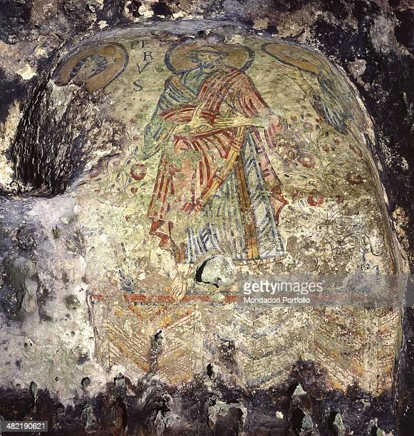 Italy Basilicata Matera Crypt of the Original Sin Detail Saint Peter between saints Andrew and john