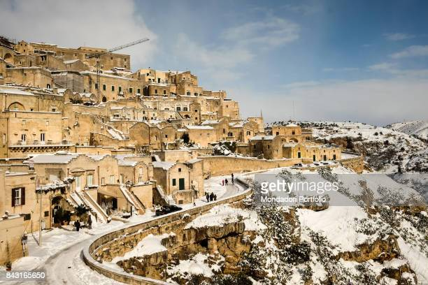 Italy Basilicata Matera Detail The Stones of Matera the ancient cave dwellings situated in the old town of Matera under the snow in the days around...