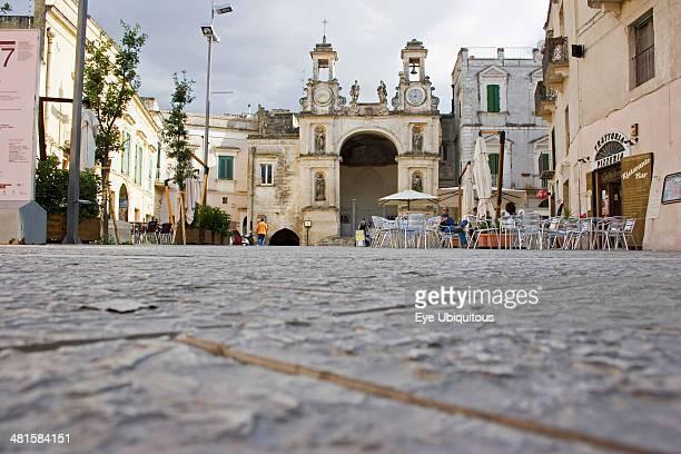 Italy Basilicata Matera Main square in ancient city of Sassi di Matera or the Stones of Matera originating from a prehistoric cave settlement UNESCO...