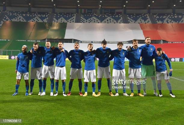 Italy before the UEFA Nations League group stage match between Italy and Poland at Mapei Stadium - Citta' del Tricolore on November 15, 2020 in...