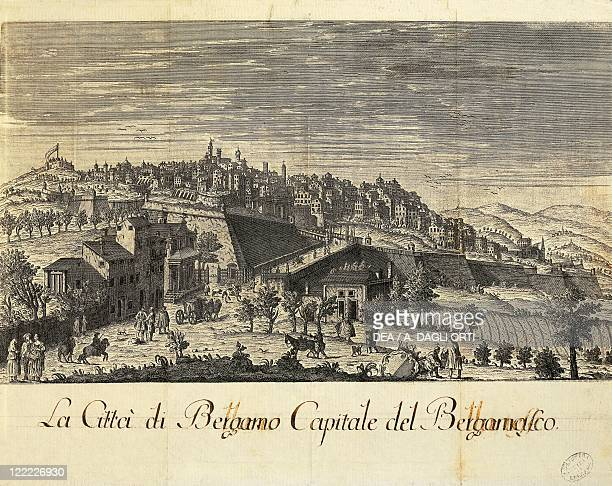 Italy Bergamo View of the town engraving