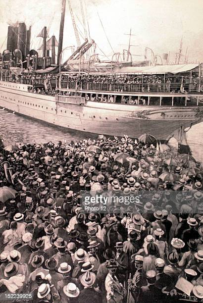 Italy Boxer Rebellion Aboard the 'Preussen' German soldiers leaving the harbour of Genoa towards China