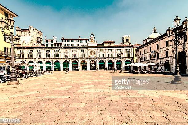 italy, brescia, view to piazza della loggia - brescia stock pictures, royalty-free photos & images