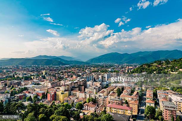 italy, brescia, view to the city from colle cidneo - brescia stock pictures, royalty-free photos & images