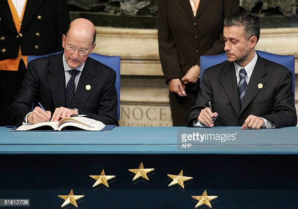 Bulgaria Prime Minister Simeon SaxeCoburgGotha and Bulgarian Foreign Minister Solomon Isaac Passy sign the Treaty and Final Act that establish a...