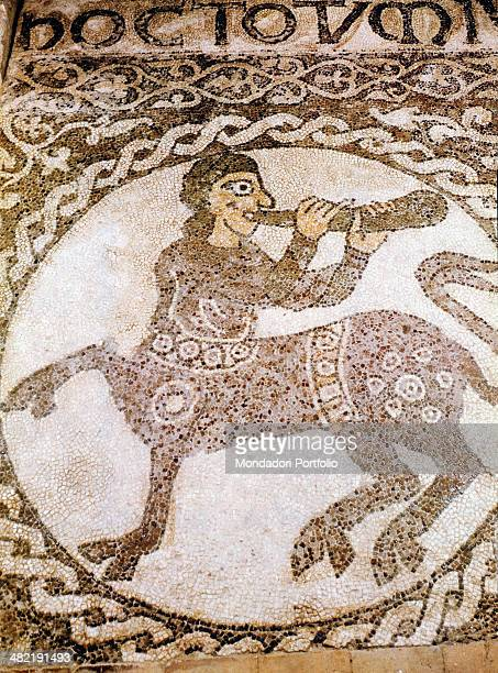Italy Calabria Ronnaso Abbey of Patire Detail Fragment of the mosaic floor of the church with a centaur playing a horn in a clypeus surrounded by...