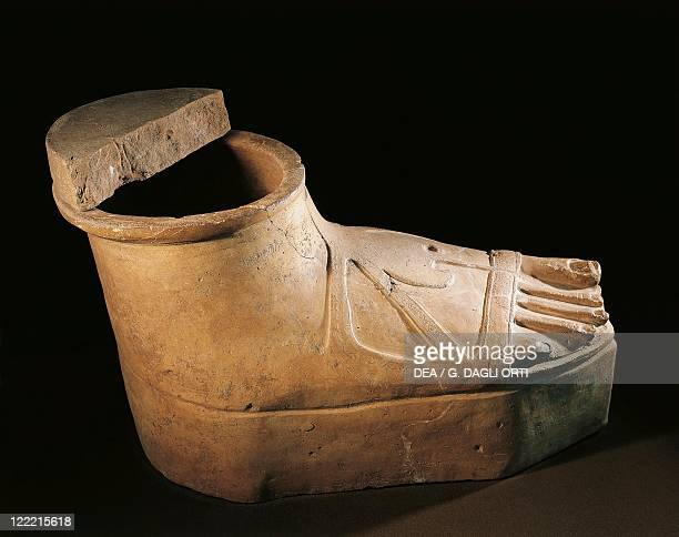 Italy Calabria Sarcophagus in the shape of a feet wearing a buskin terracotta