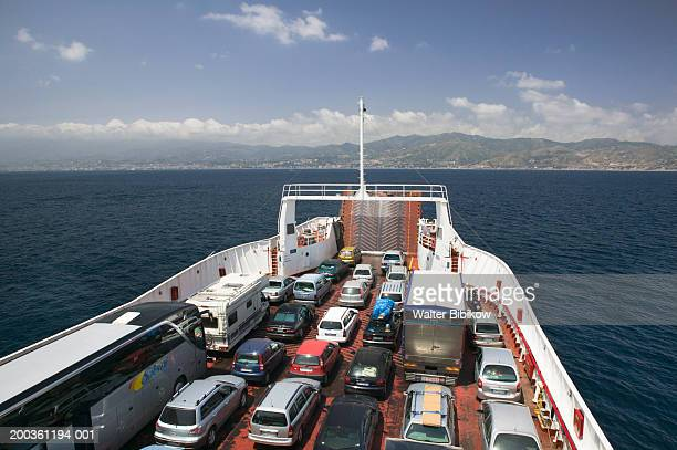 Italy, Calabria, Strait of Messina, vehicles on ferry
