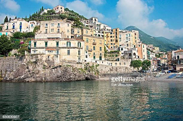 Italy Campania Amalfi Coast Minori clifftop buildings around the harbour