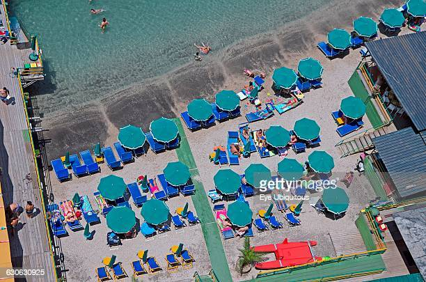 Italy Campania Amalfi Coast Sorrento Aerial view of beach with sunbeds