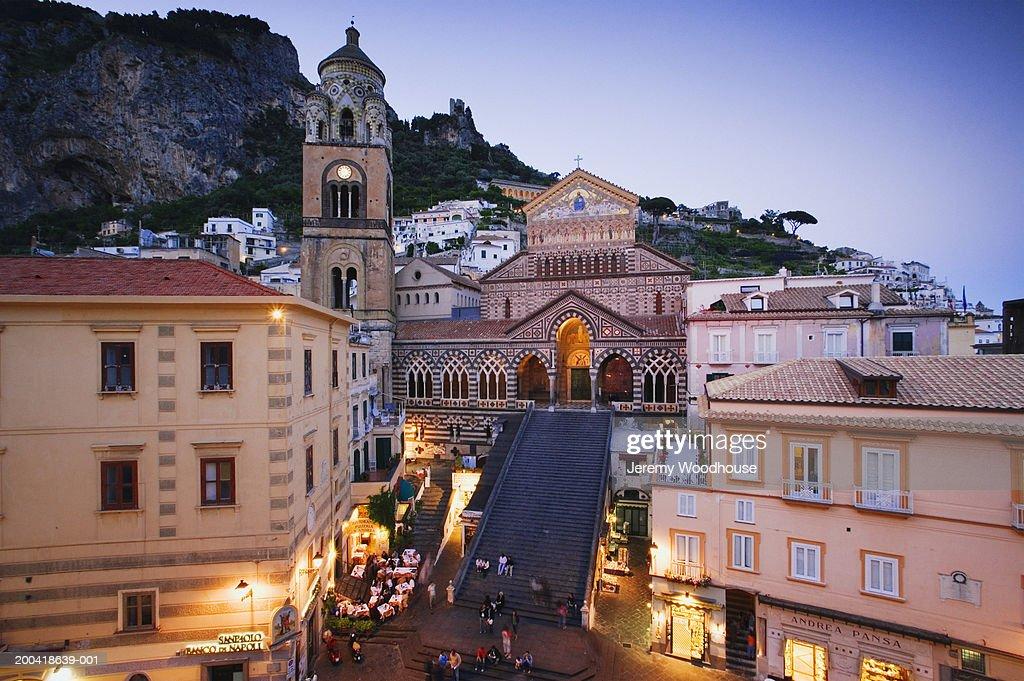 Italy, Campania, Amalfi, main square and the Duomo : Stock Photo