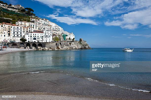 Italy Campania Amalfi View of the Village From The Beach
