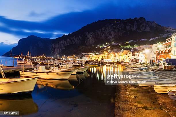 Italy, Campania, Capri Island, Capri, Marina Grande at night