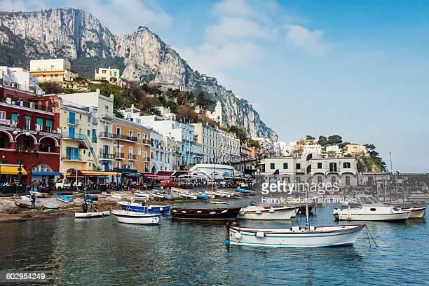 italy, campania, capri island, capri, marina grande - capri stockfoto's en -beelden