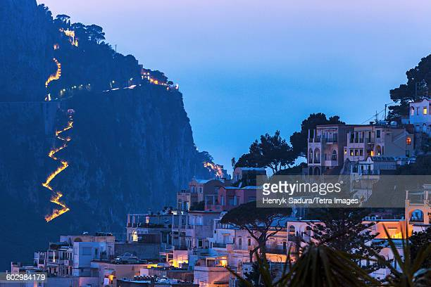 Italy, Campania, Capri Island, Capri, Town at dusk
