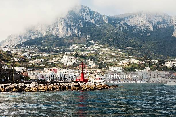 italy, campania, capri island, capri, view of marina grande - capri stockfoto's en -beelden