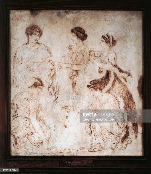 Italy Campania Ercolano Astragalus players monochrome painting on marble