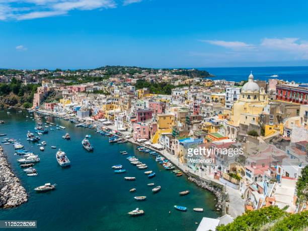 italy, campania, gulf of naples, phlegraean islands, procida island, harbour, marina di corricella - naples italy stock pictures, royalty-free photos & images