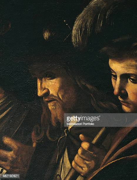Italy Campania Naples Church of the Pio Monte della Misericordia Detail Faces of the bearded man and of the young gentelmen with hat and sword on the...