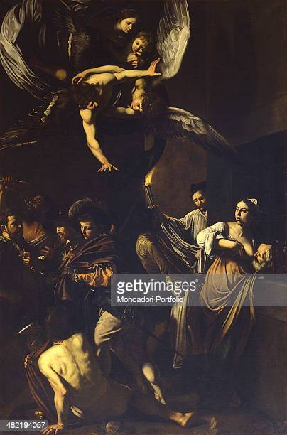 Italy Campania Naples Church of the Pio Monte della Misericordia Whole artwork view In the upper part Our Lady baby Jesus and an angel with open arms...