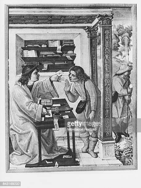 Italy Campania Naples Girolamini Library Whole artwork view Illumination depicting the work of a scribe from C Plinius Secundus Epistolae et...