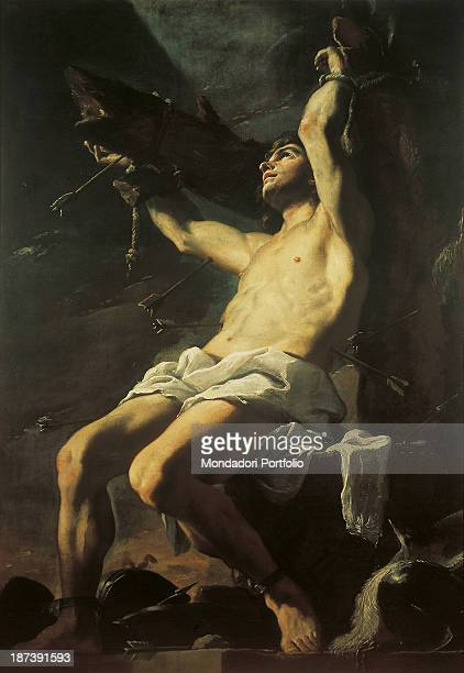 Italy Campania Naples Museo Nazionale di Capodimonte Reggia di Capodimonte All Young St Sebastian tortured wounded and bound by two beams was...