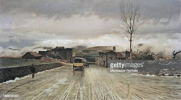 Italy Campania Naples National Museum of Capodimonte Whole artwork view The muddy road entry into the country on the left a man walking in the middle...