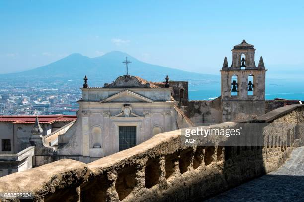 Italy. Campania. Naples. View Of San Martino Certosa And Cityscape From Castel Sant'elmo.