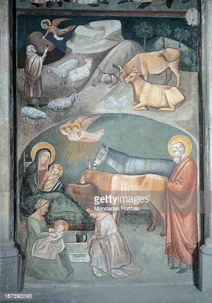 Italy Campania Napoli Basilica di San Lorenzo Maggiore All Creche representing Nativity In a cave Virgin Mary Joseph and Christ Child their heads...