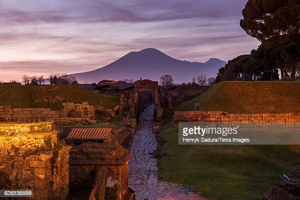 Italy, Campania, Pompeii, Landscape with ancient ruins and Mount Vesuvius in background