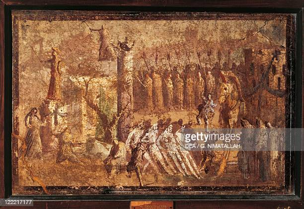 Italy Campania Pompeii The Trojan horse fresco