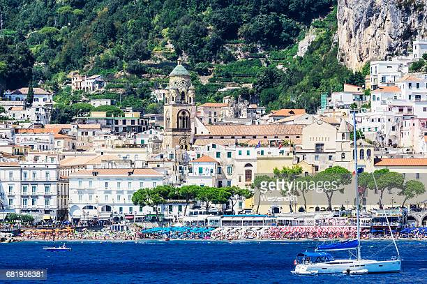 Italy, Campania, Province of Salerno, Amalfi coast, Amalfi, yacht