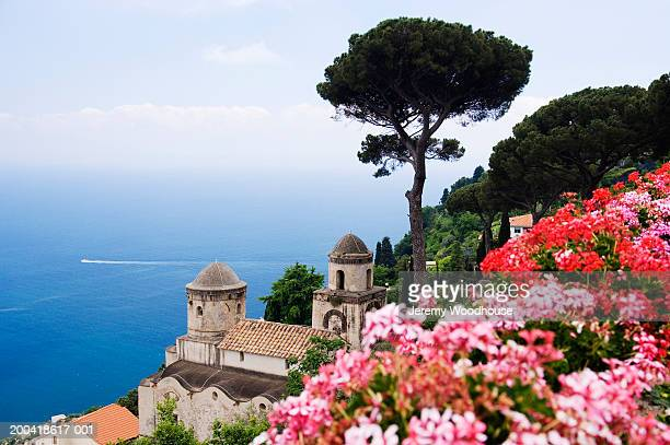 italy, campania, ravello, view from villa rufolo gardens - jeremy woodhouse stock photos and pictures
