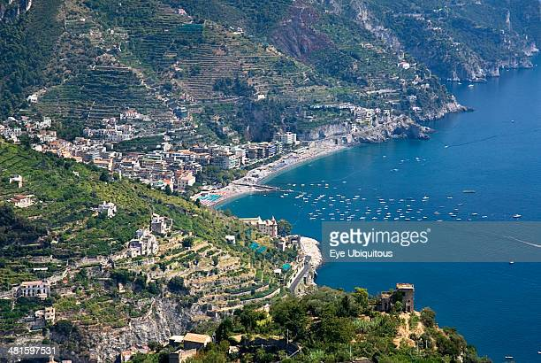 Italy Campania Ravello View of the Amalfi coastline from the hillside town of Ravello
