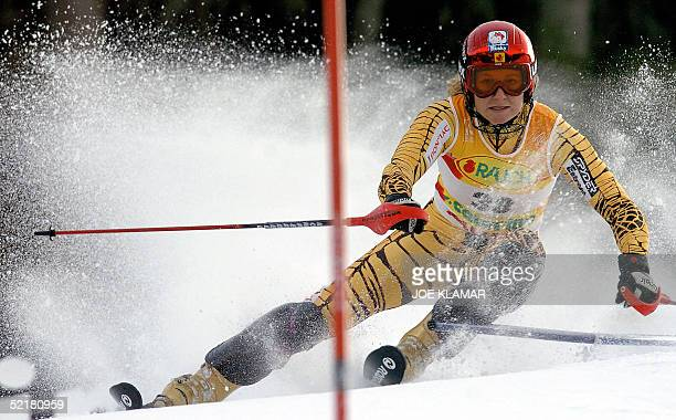 Canada's Brigitte Acton passes a gate during the first run of the women's slalom at the World Ski Championships in St Caterina 11 February 2005 AFP...