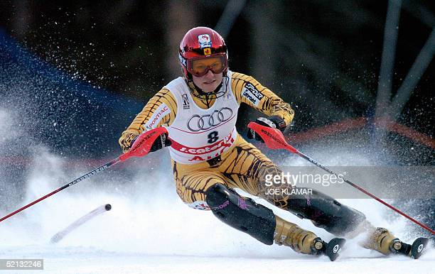 Canada's Brigitte Acton passes a gate during the Women's slalom combined first run at the World Ski Championships in St Caterina 04 February 2005...