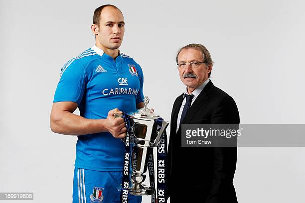 Italy captain Sergio Parisse and Jacques Brunel the Italy head coach pose during the RBS Six Nations launch at The Hurlingham Club on January 23 2013...