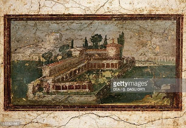 Italy Castellammare di Stabia Sight of a villa on the edge of the sea Fresco