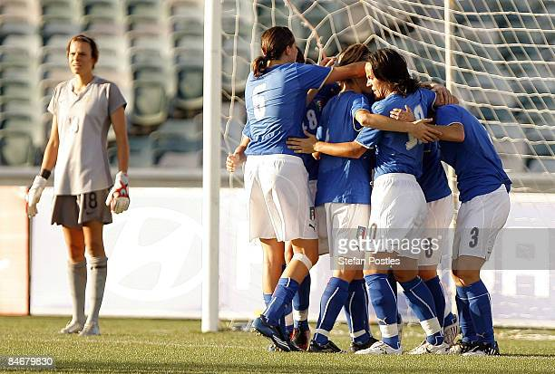 Italy celebrate after Melania Gabbiadini scored a goal during the women's international friendly match between the Australian Matildas and Italy at...