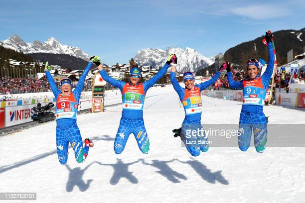 Italy celebrate after the race during the Women's 4x5km Cross Country Relay at the FIS Nordic World Ski Championships on February 28 2019 in Seefeld...