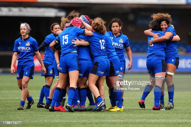 Italy celebrate at full time during the Womens six nations championship match between the Wales and Italy at Cardiff Arms Park on February 02, 2020...